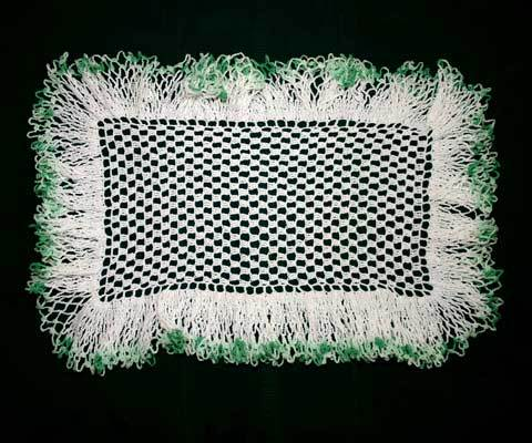 Vintage Crocheted Doily Small Rectangle with Ruffle