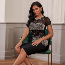 Pearl Embellished Mesh Black Bandage Dress Bodycon Celebrity Club Dress