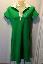 Lauren Ralph Lauren Active Green White Sweater Dress Collar V-Neck Sz PX... - $42.56