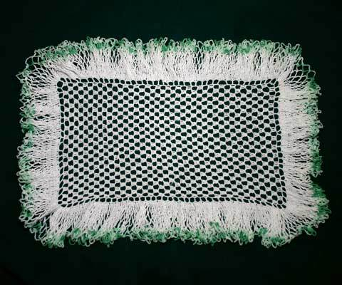 Vintage Crocheted Doily Large Rectangle with Ruffle