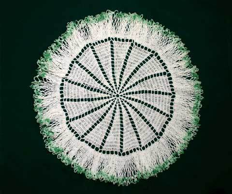 Round Vintage Crocheted Doily with Ruffle