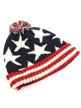 Stars & Stripes American Flag Print Pom Knit Beanie Cap Winter Hat - ₨1,202.28 INR