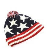 Stars & Stripes American Flag Print Pom Knit Beanie Cap Winter Hat - ₨1,107.96 INR