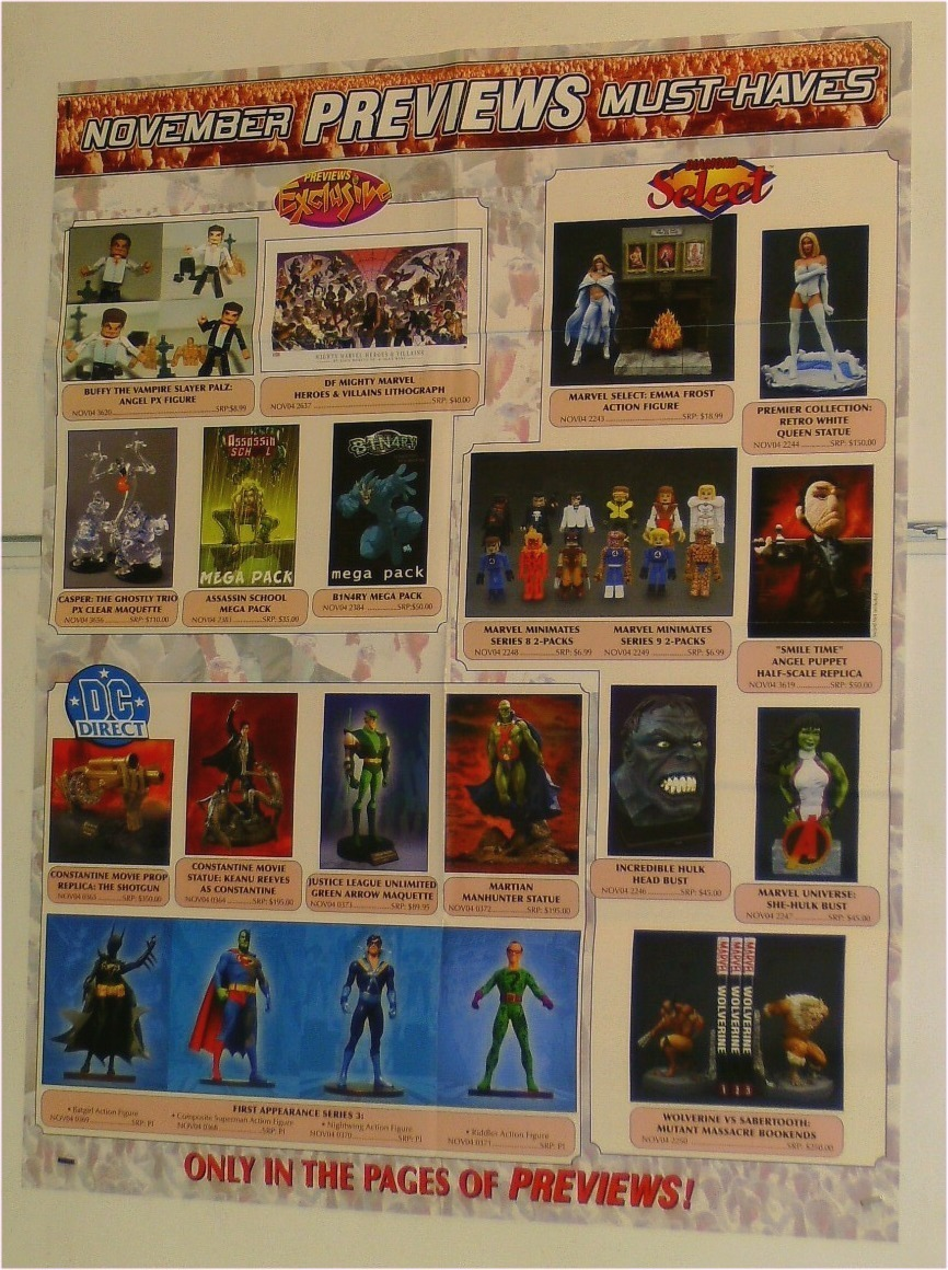 MINIMATES/FIGURE TOYS POSTER:X-MEN/FANTASTIC FOUR/HULK/BATMAN/SUPERMAN/NIGHTWING