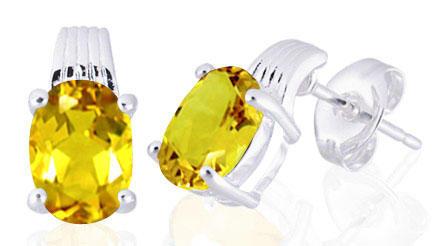 Oval cut citrine earrings 1.50ctw