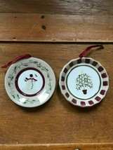 Estate Lot of 2 Miniature Tan Red & Green Stoneware Plates with Snowman ... - $8.59