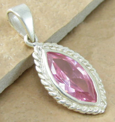 Topaz y0196marquis pink 925 sterling silver pendant