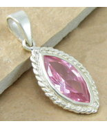 STERLING SILVER 5CTW PRETTY PINK TOPAZ MARQUIS PENDANT - $22.99