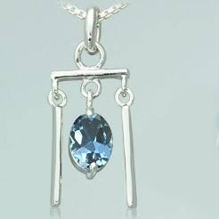 Oval cut london blue topaz pendant sterling silver recieved