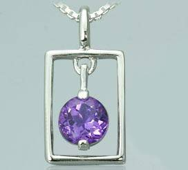Amethyst round cut pendant sterling silver
