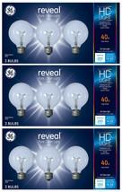 9 Pack GE Reveal HD+ Light 40-Watt G25 Clear Globe light Bulbs w Medium Base