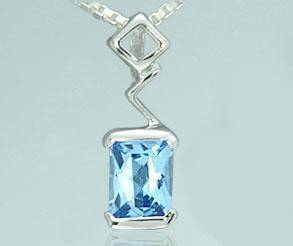 Topaz radiant cut swiss blue pendant sterling silver recieved