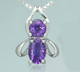 Amethyst round   oval cut pendant recieved sterling silver