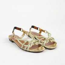 Lanvin Metallic Gold Rope Open Toe Low Heel Sandals SZ 38 - $105.00