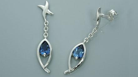 Pear cut london blue topaz dangling earrings sterling silver received