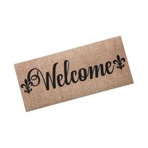 Burlap Welcome Fleur de Lis Sassafras Switch Mat - $25.50