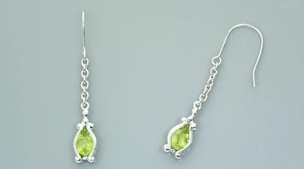 Pear cut peridot dangling earrings sterling silver