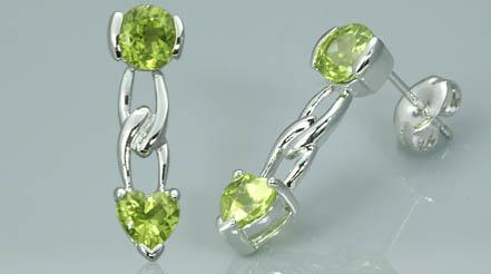 STERLING SILVER 2.25CTW PERIDOT GEMSTONES EARRINGS