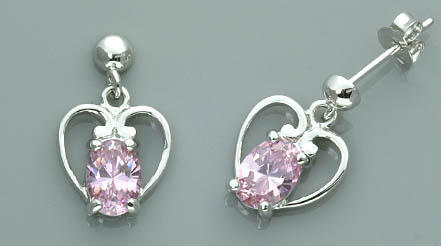 STERLING SILVER OVAL CUT PINK ICE CZ EARRING