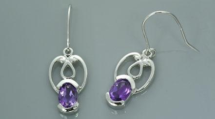 Oval cut amethyst dangling earrings sterling silver