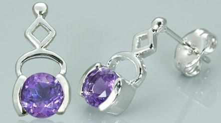 Round cut amethyst drop earrings sterling silver