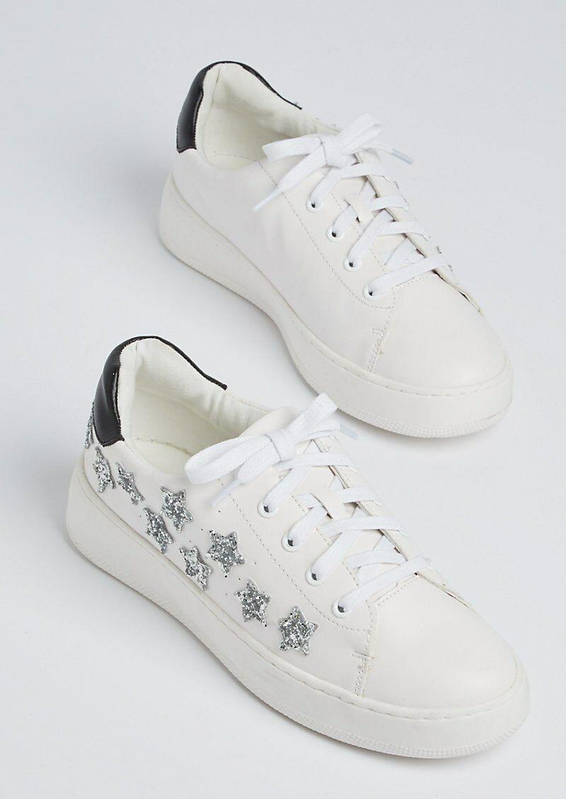 NEW Pair Rue21 Wild Diva Lounge White Glitter Star Sneaker Shoe