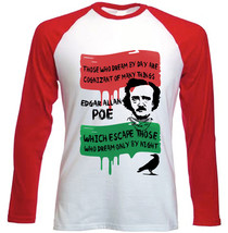 EDGAR ALLAN POE DREAM QUOTE - NEW RED LONG SLEEVES COTTON TSHIRT - $26.97