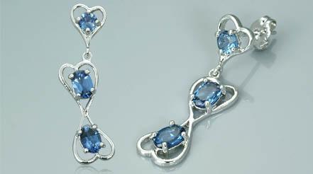 Round   oval cut london blue topaz drop earrings 2.75ctw