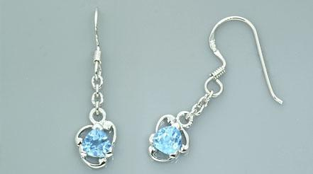 1.00ctw trillion cut swiss blue topaz dangling earrings