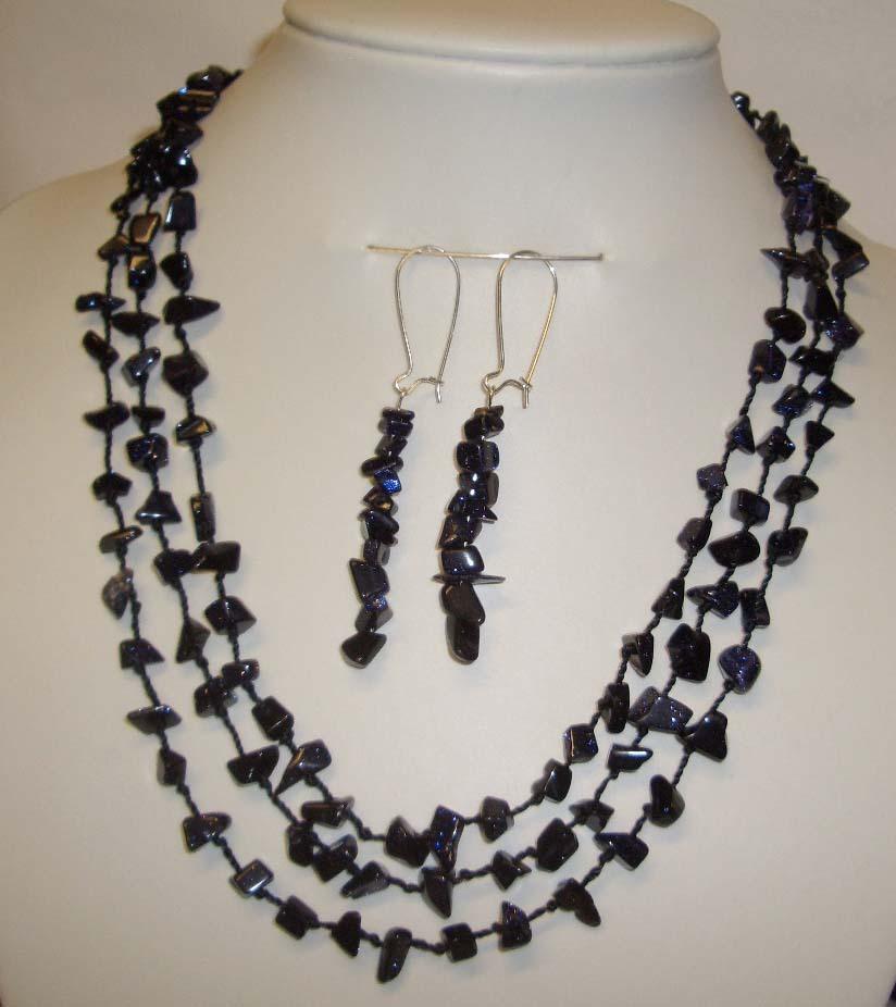 Sunsitara y421blue splendid star gem nugget necklace earring set