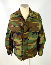 Vtg 1999 Green Brown Woodland Camouflage Print Temperate Jacket Coat Sz ... - $29.69
