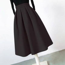 Winter Long Pleated Skirt Warm Woolen Midi Pleated Party Skirt BURGUNDY BLACK image 7