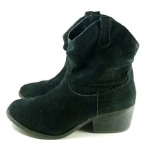 White Mountain Ankle Booties Women's Sz 8 Black Suede Leather (tu10) - £19.29 GBP