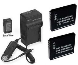 Two 2 Batteries + Charger For Panasonic DMC-FX30EB-S DMC-FX30EF-K DMC-FX30EF-S - $35.75