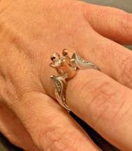 Silver & Rose Gold Rose Ring Size 7/8 - $18.70