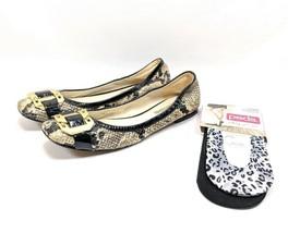 Via Spiga Flats Women's Sz 7.5 M Black Cream Leather Snakeskin Pattern (... - $26.99
