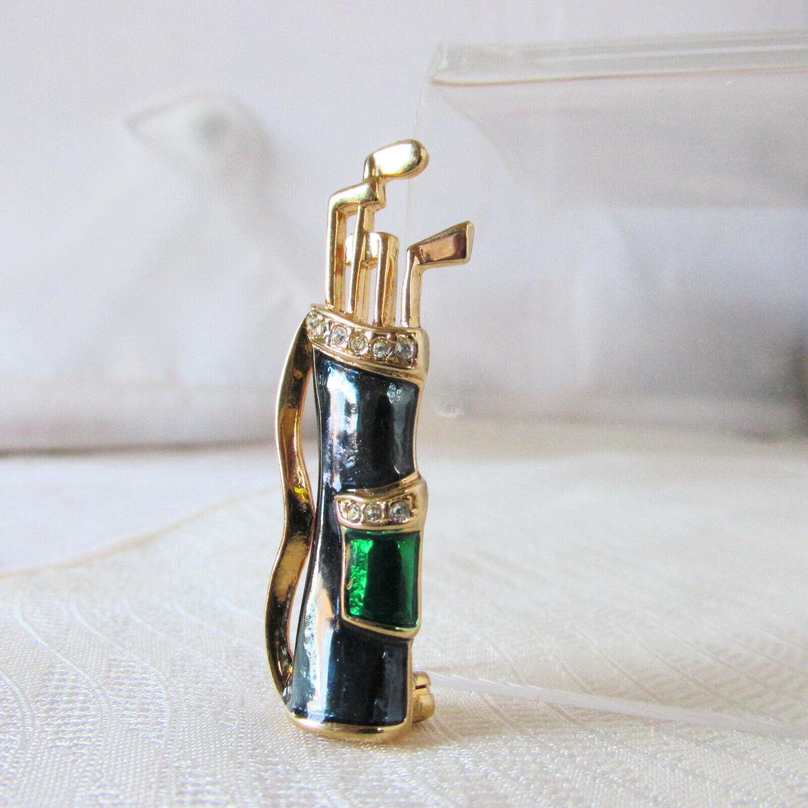 Vintage KREMENTZ Golf Bag Clubs Pin Rhinestone Green Blue Enamel Signed A++