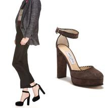 Jimmy Choo Daphne Platform Heel Pump Ankle Strap Sandal Brown Suede EU 35.5 - $320.76