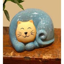 Chinese Red Ceramic Smiling Kitty Cat Statue - $23.95