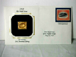 Jenny 22kt Gold Inverted 24¢ Replica Stamp Air Mail 1st Day of Issue May... - $23.33