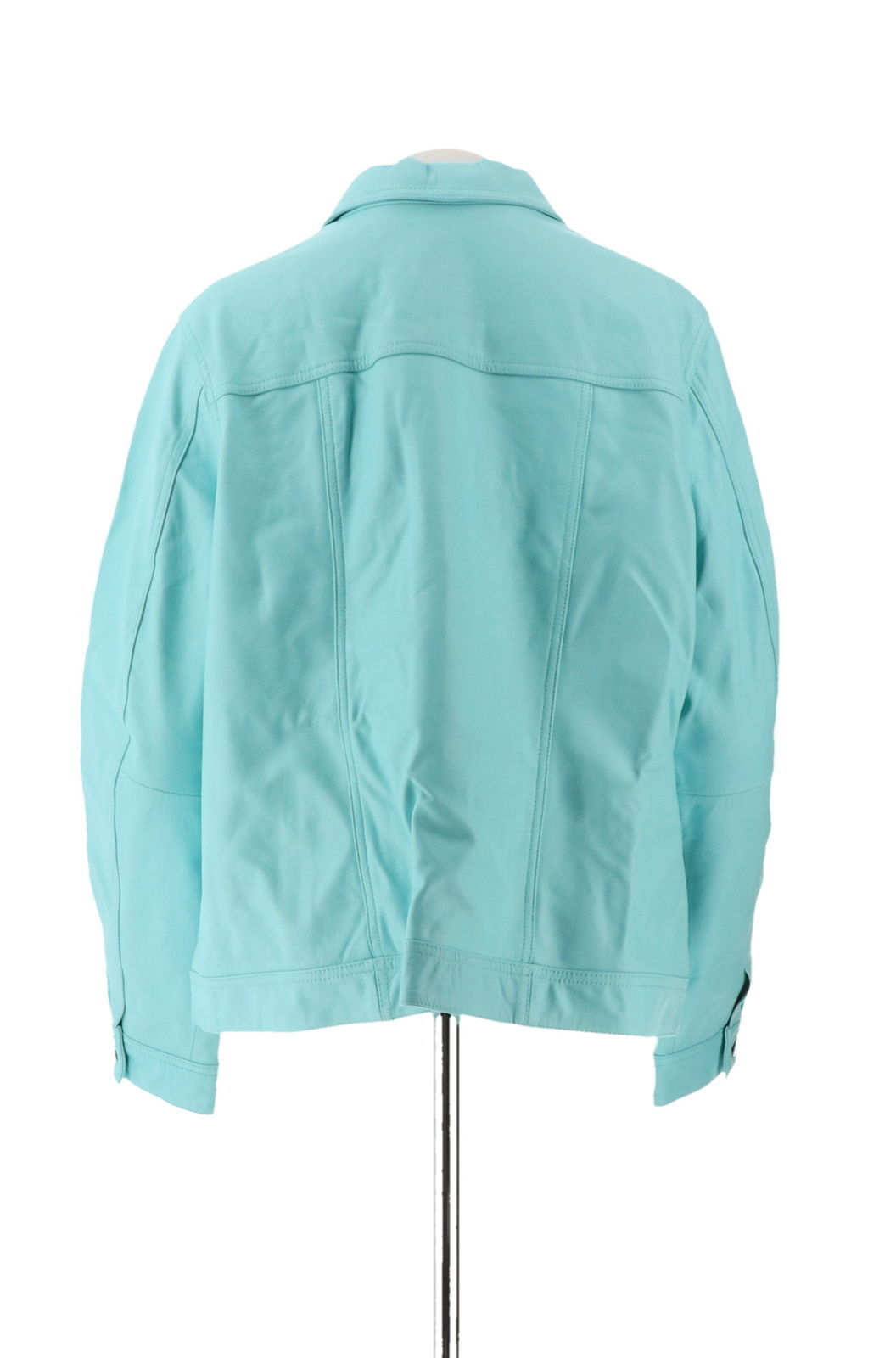 Denim & Co Lamb Leather Jean Jacket Light Turquoise XL NEW A272640