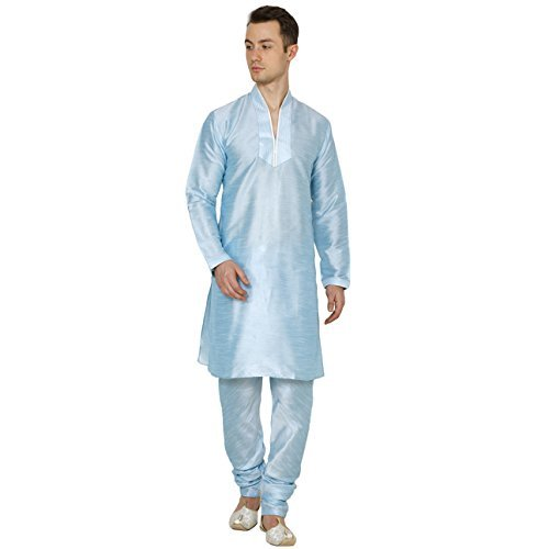 Primary image for Wondercraft Indian Traditional Festive Men's Dupion Silk Hineck Kurta Churidar