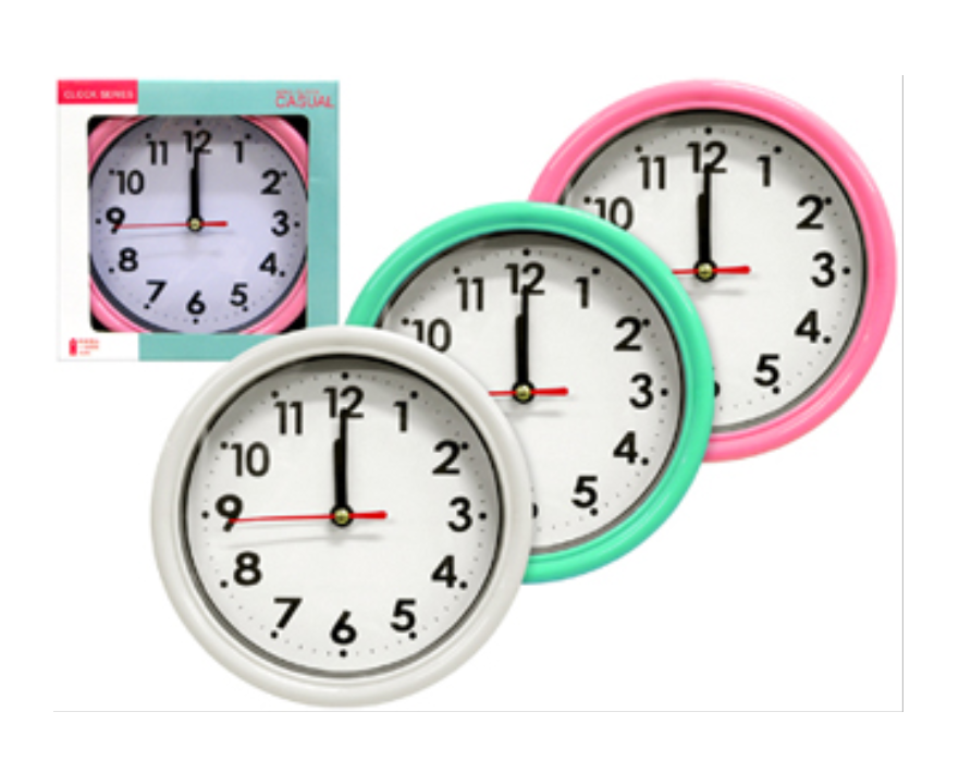 Primary image for Green-ornament Simple Wall Clock from Japan,pink white green