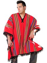 Red Poncho with Multicolored Stripes Multicolored - $93.66