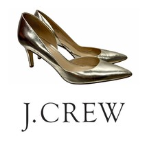 J Crew Mirror Valentina Pump Heels Shoes Silver Size 8.5 Made in Italy 0... - $53.35