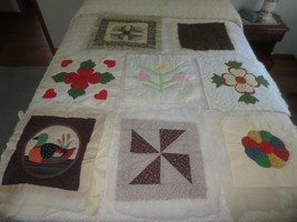 8 Cotton PATCHWORK Padded, Backed & Quilted PILLOW TOPS - Various Patterns - $19.80
