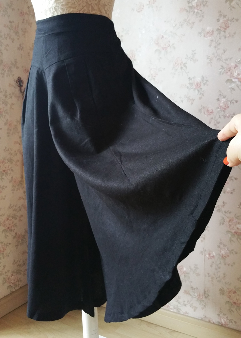 Black WIDE LEG Linen Pants Trousers High Waisted Linen Pants Women Palazzo Pants