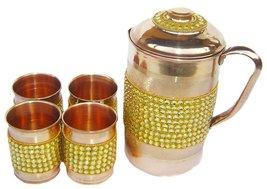 Rastogi Handicrafts Pure Copper Golden Crystal Studded Jug & 4 Glass Set - $72.77