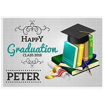 Books and Hat Class of 2018 Graduation Banner Personalized Backdrop - $798,95 MXN