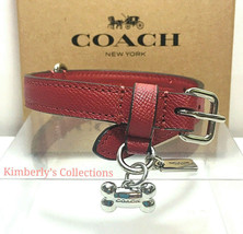 COACH Small Dog Puppy Collar with Silver Bone Charm Red Leather NWT - $69.29